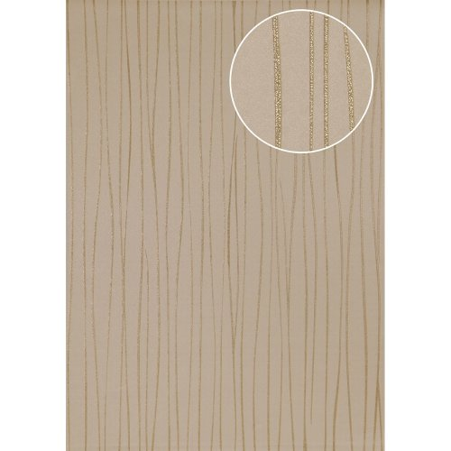 Atlas ICO-5077-3 Stripes wallpaper shimmering gold 7.035 sqm