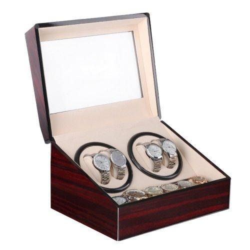 Automatic Watch Winder Box Luxury Wooden for 4 Wrist Watches + 6 Storage Case