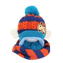 Winter Baby Kids Girls Boys Hats Warm Scarf Caps Plush Ear Protect Gift Set-Blue