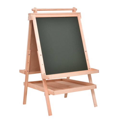 2 IN 1 Kids Wooden Easel Adjustable Double Sided