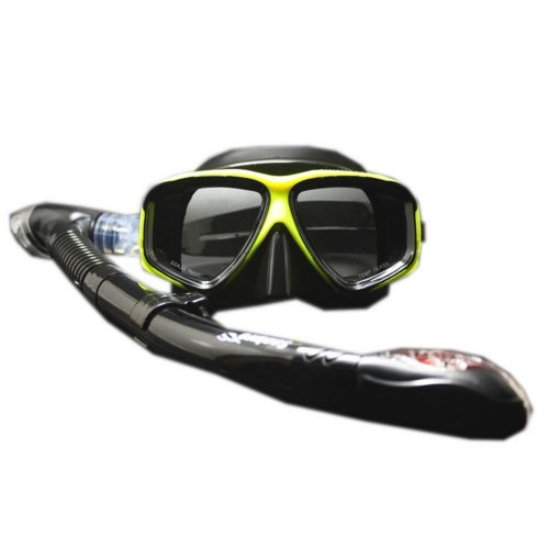 Scuba Diving Mask & Dry Snorkel Set Snorkeling Equipment for Adult, Black