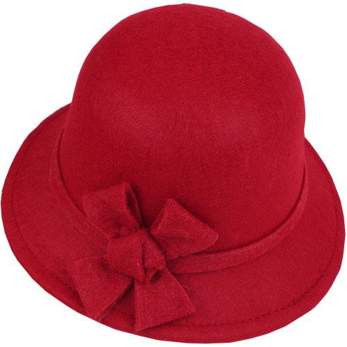 Women's Felt Elegant Church Cloche Hat Bowler Hat Bucket Hat Winter Hat,Bow, Red