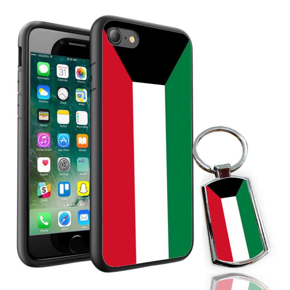 i-Tronixs - Kuwait Flag Design Printed Case Skin Cover + Free Metal Keyring  - 0091