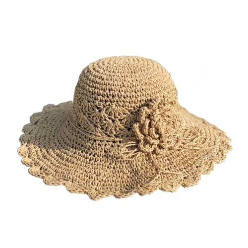 Womens Summer Straw Hat With Flower Packable Sun Visors Girls Hats, Light brown