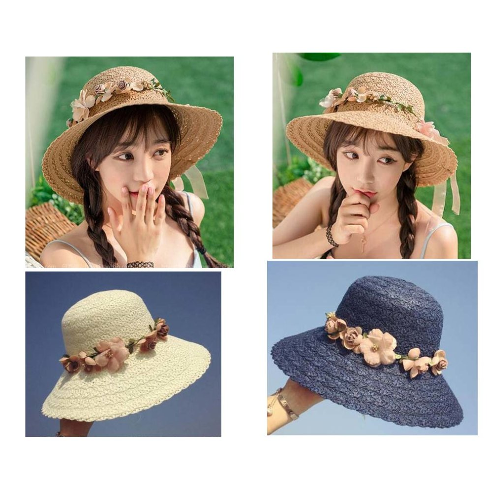 cfe5942344b4b ... Garland Straw Hat Beach Lady Big Hat Fashion Visor Sun Hat  7 - 1.