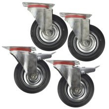 "6"" (150mm) Rubber Swivel and Swivel With Brake Castor Wheel (4 Pack) CST010_011"