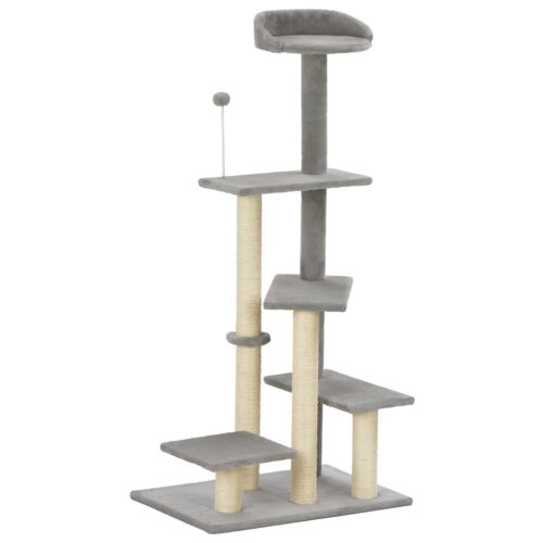 vidaXL Cat Tree with Sisal Scratching Post Grey 125cm Kitten Play Tower House