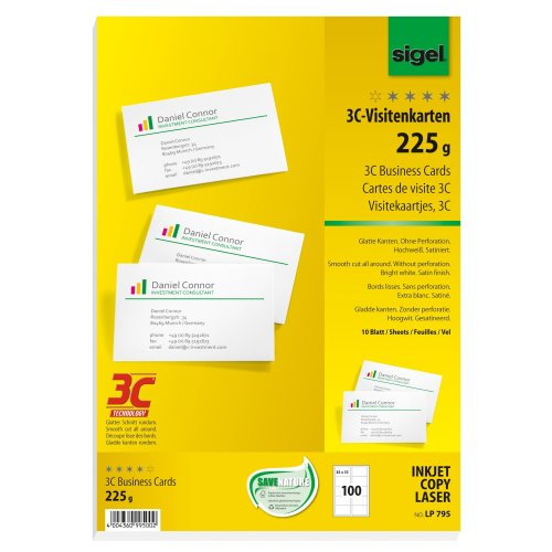 Sigel 225g 85 x 55mm A4 3C Business Cards - Bright White (100 Pieces)