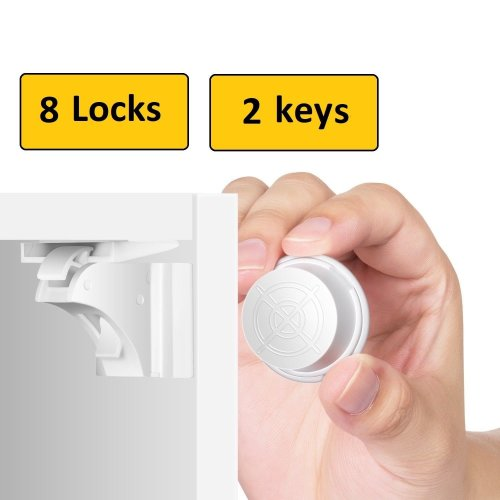 8 Invisible Safety Baby Magnetic Cupboard Drawers Lock Door Child Baby