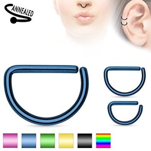 Titanium Plated D Shape Annealed Surgical Steel Cut Cartilage Septum Universal Piercing Jewellery