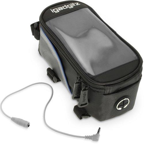 iGadgitz Medium Bike Phone Holder, Bike Frame Bag, Reflective Water Resistant Bike Stem Phone Holder Pannier - Mountain Bike, Road Bike, Push Bike,...