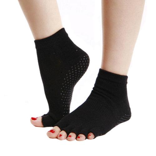 Women's Non Slip Half Toe Yoga Socks Toeless Socks Strong Grip - Black