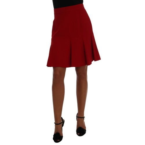 Dolce & Gabbana Red Lece Pleated Above Knee Skirt