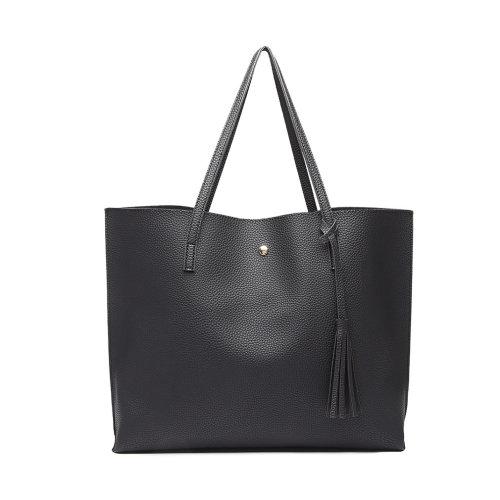 Miss Lulu Women Soft Leather Handbag Shoulder Bag Tote Black