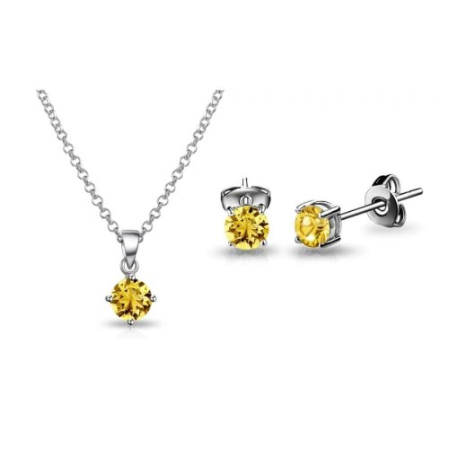 Light Topaz Solitaire Set Created with Swarovski Crystals