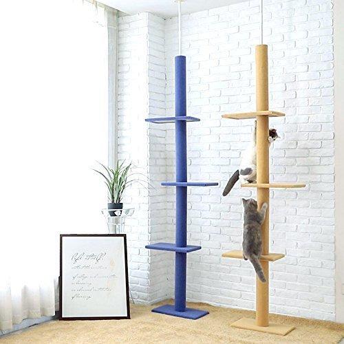 Cat Tree Floor to Ceiling 230-286cm Ajustable High Beige/Blue Wooden Solid Cat Scratcher Pet Playing Fun Tools of YGJT