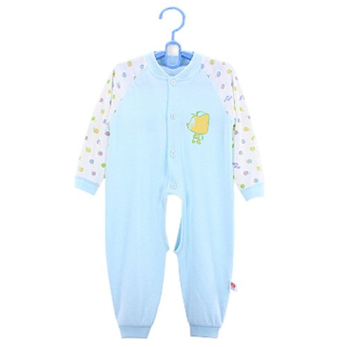 Baby Suit Clothing Long-Sleeved Cotton Baby Crawl Sports Open Fork Cotton Blue