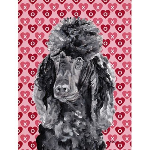 Black Standard Poodle Hearts and Love Flag Garden Size