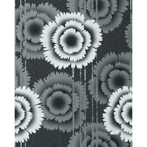 EDEM 056-20 wallpaper retro 70s flowers design black white   5.33 sqm (57 sq ft)