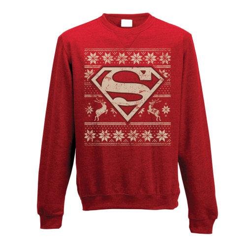 Small Adult's Superman Jumper -  superman crewneck sweatshirt fair isle jumper dc comics logo mens red sweater