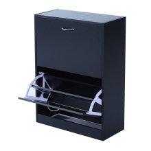 Homcom Wooden Shoe Storage Cabinet 2 Tier Drawers Footwear Stand