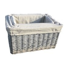 Set of 3 Provence Lined Wicker Storage Baskets