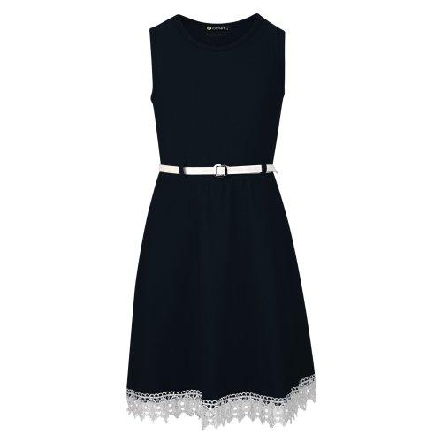 Girls Belted Lace Hem Dress