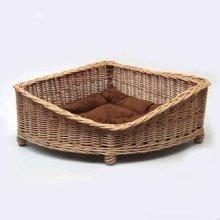 Luxury Wicker Dog Pet Corner Basket Medium
