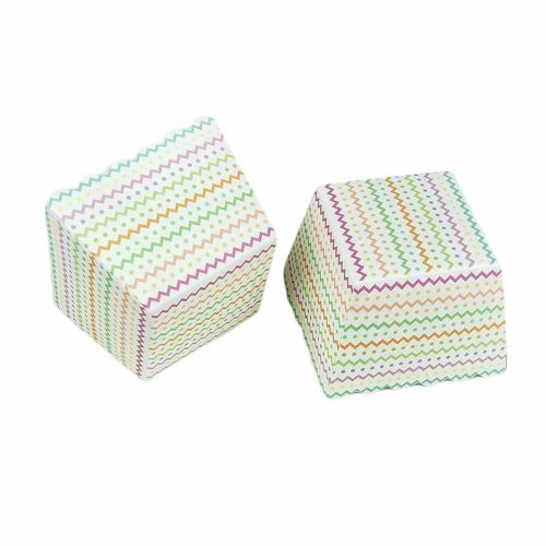 100 Pcs Paper Cupcake Baking Cup Square Chiffon Cake & Muffin Cup - Color Wave