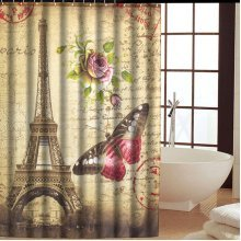 2 Size Eiffel Tower Design Waterproof Bathroom Curtain Polyester Fabric Bath Curtain With Hooks