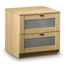 Prowder Light Oak 2 Drawer Bed Side Chest Fully Assembled Option
