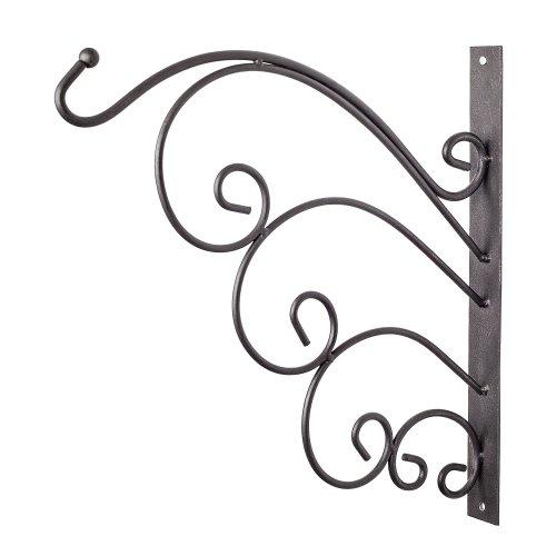 Black Metal Garden Wall Hook Hanging Basket Bracket - Design A