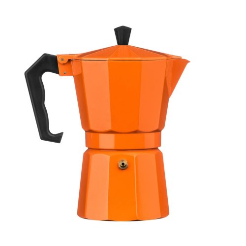6 Cup Espresso Maker, Aluminium - Orange