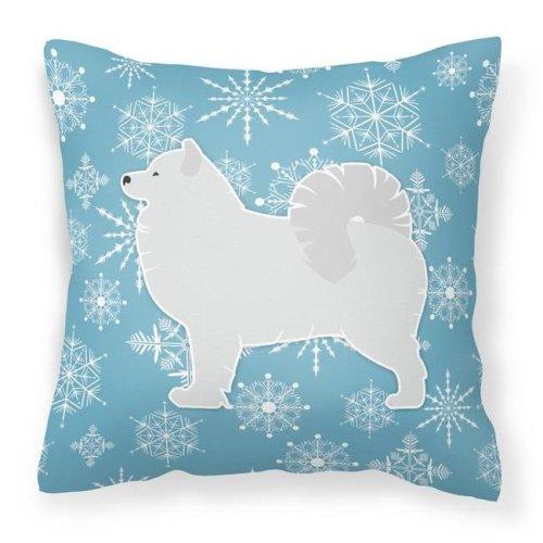 Carolines Treasures BB3559PW1414 Winter Snowflake Samoyed Fabric Decorative Pillow
