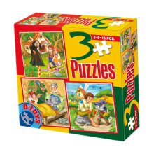 DT60778-MB-01 *D-Toys 3in1 Jigsaw Puzzles 6-9-16 Pcs Magnetic Fairytales