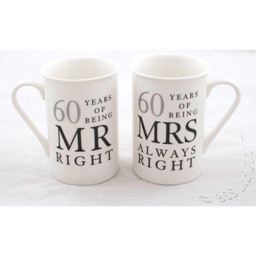 60th Wedding Anniversary Mugs WG823 | Diamond Anniversary Gift