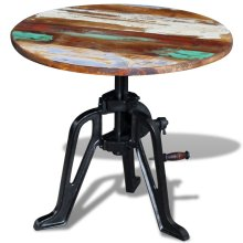 vidaXL Side Table Solid Reclaimed Wood Cast Iron 60x(42-63) cm