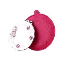 Portable Princess Mirror Vanity Mirror Little Handheld Makeup Mirror Round 7x12CM (Red)