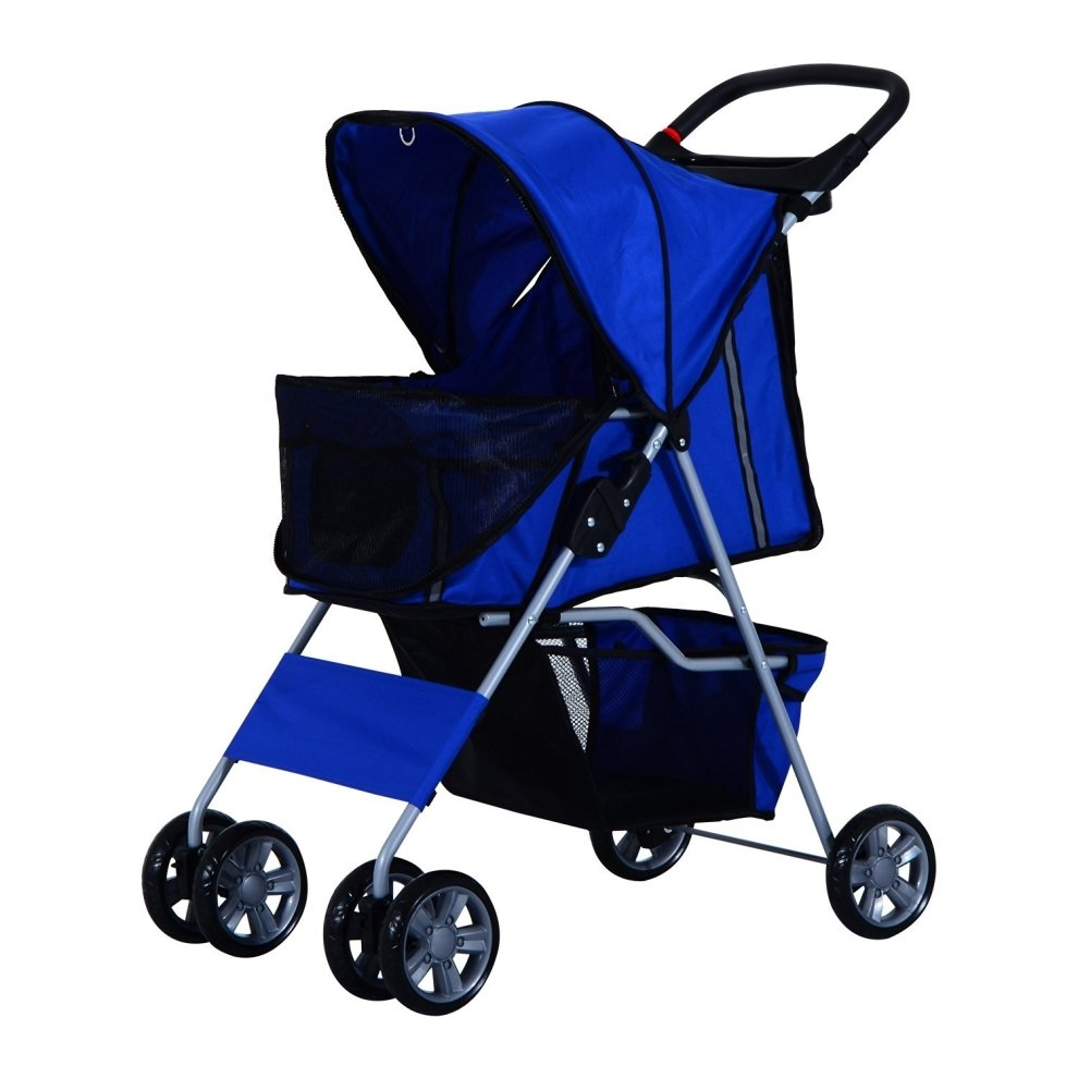 Pawhut Pet 4 Wheels Travel Stroller Dog Pushchair Puppy Carrier