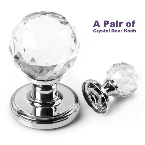 1 pair of SMB6025 Clear Super big Crystal Glass Door Knob + set of accessories