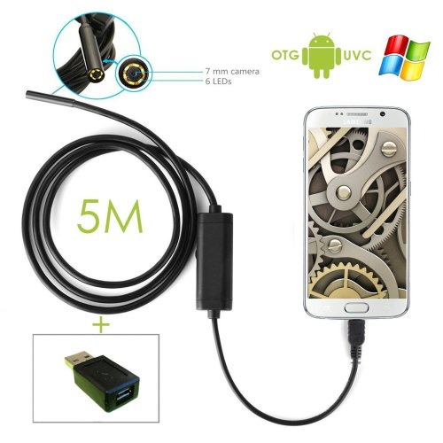 Endoscope Waterproof Blocked Drain / Cavity / Ear Inspection Camera 5m for Android/Windows PC