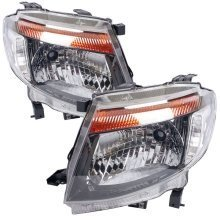 Ford Ranger 2012-2016 Black Headlights Headlamps Pair Left & Right