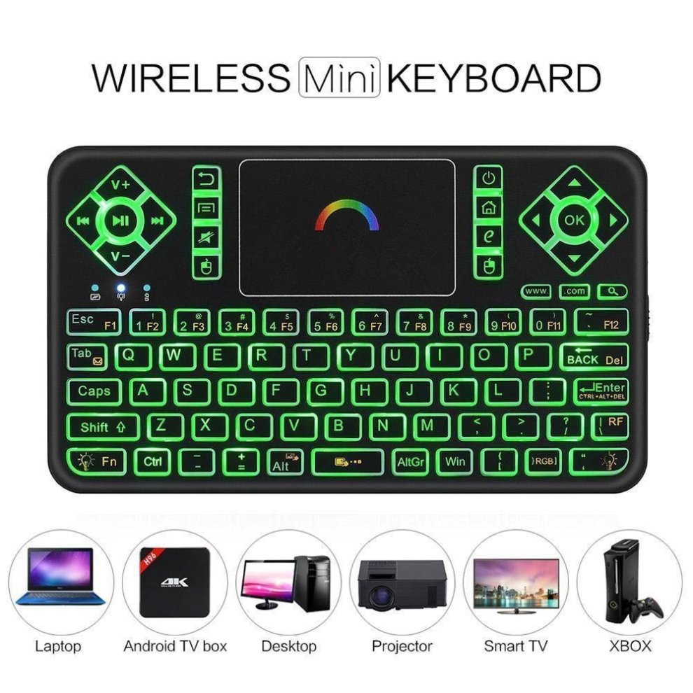 2fa6c599c98 ... Best Wireless Keyboard with Touchpad Mouse - Q9 2.4GHz Colorful Backlit  Mini Wireless Keyboard, ...