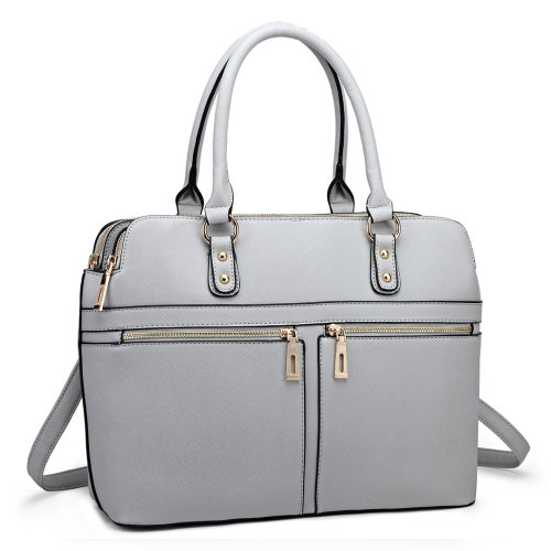 Miss Lulu Women Leather Handbag Laptop Shoulder Bag Tote Light Grey