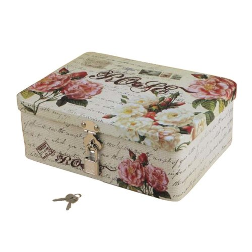 Lovely Style Password Lock Box Storage Box Iron Box Key Box-Flower