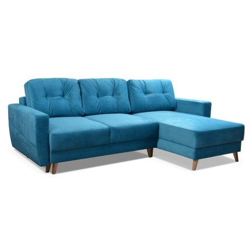 Corner Sofa Bed Retro 2, Storage, Velveteen Fabric
