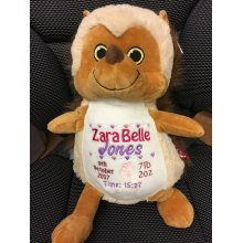 Soft Hedgehog Teddy Personalised Embroidered Message Name / Birth Date