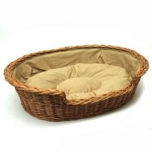 Extra Large Medium Willow Dog Cat Pet Wicker Basket Light Colour Cushion