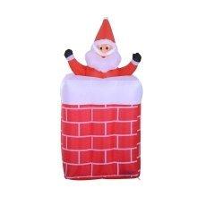 Homcom 180cm Christmas Lighting Blow Up Inflatable Santa Claus Chimney Decoration 4 Led
