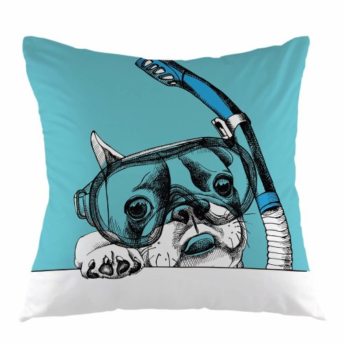 """Melyaxu Dog Throw Pillow Cover Bulldog Pet Swim in Diving Mask Tube Underwater Pillowcase Square Cushion Cover for Sofa Couch Car Bed 18"""" x 18"""" inch"""